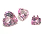 Pink Sapphire Gem Stones Faceted Heart Shape Cut Perfect for Three Rings or a Pendant Can use with PMC