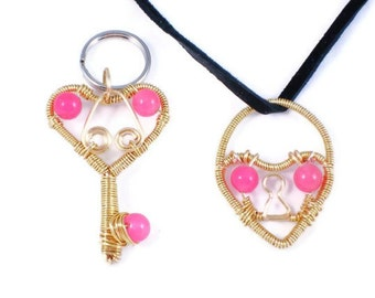 You Hold The Key To My Heart - Dog pet & Owner matching set, wire wrapped lock and key, jewelry duo pendant and necklace