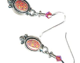 delicate salmon brick coral lab opal sterling silver dangle earrings