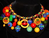 Bright Bakelite Buttons, Buckles, Beads & more Necklace