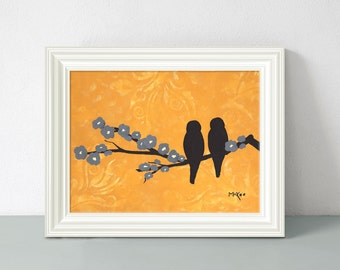 Love Bird Wall Decor Art Print, Orange and Grey, 12 x 9 inches