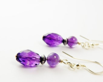 Natural Amethyst  Stone Earrings /   February Birthstone  / Sterling Silver  /  Purple