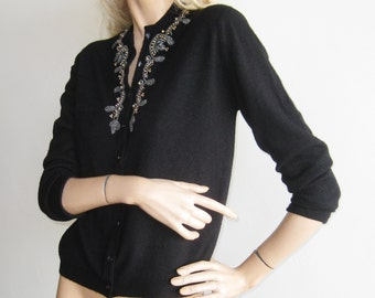 Vintage 50s Black Orlon Beaded Pin Up Girl Mad Men Cardigan Sweater