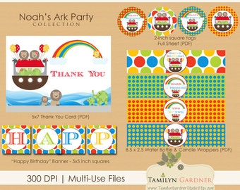 SALE! Noah's Ark Birthday Party Printables - Noah's Ark Party Bundle, Noahs Ark Birthday - Instant Download