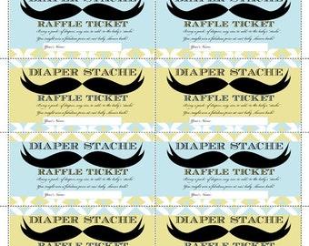Instant Download - Mustache Diaper Raffle - Diaper Raffle Ticket - Mustache Bash