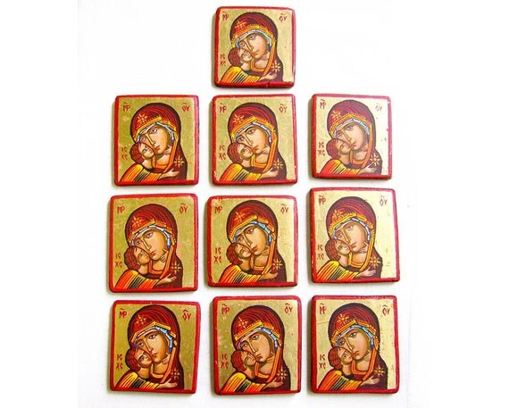 Baptism Favor, Wedding Favor Set Miniature Icons, Virgin Mary and Christ child, Eleusa Icon - handpainted orthodox icons - MADE TO ORDER