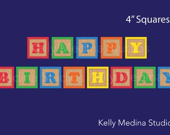 Wood Block Birthday Banner - 4 inch Square Banner -  Digital Printable Personal Use Banner