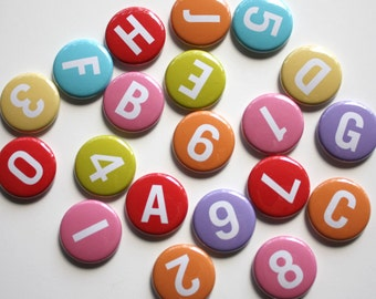 Alphabet Magnets and Numbers Magnets 1 inch Magnets or Pins - Set of 40 - Designs By Kelly Medina Studios