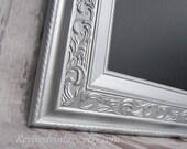 "SILVER FRAMED CHALKBOARD Magnetic 42""x30"" -Any Color- Large Chalkboard Dining Room Furniture Silver Wedding Chalkboard"