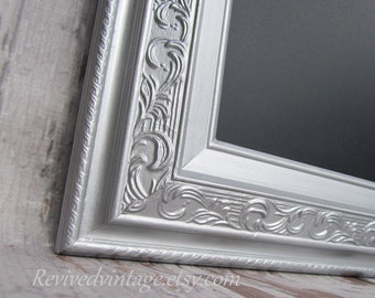 "SILVER FRAMED CHALKBOARD Magnetic 42""x30"" -Any Color- Large Chalkboard Dining Room Furniture Silver Wedding Chalkboard"