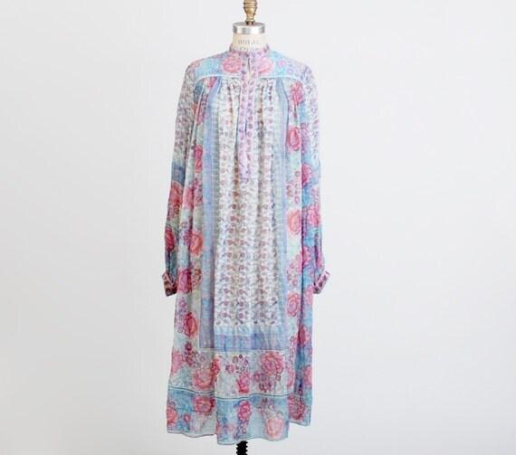 Vintage 60s 70s Blue & Pink Floral India Silk Crepe Dress