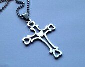 Stainless Steel Large Unisex Cross with a Stainless Steel Chain