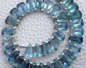 Brand New, 1/2 Strand, Natural Teal Blue MOSS AQUAMARINE Faceted Pyramid Shape Briolettes,10x6mm size,Superb Item at Low Price
