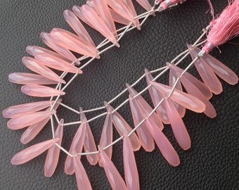 Brand New, 5 Matched Pairs, 35mm Long aprx., ROSE PINK Chalcedony Elongated Faceted Drops Briolettes,Amazing Item at Low Price