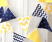 Nautical Banner Bunting, Fabric Pennant Flags, Navy Blue Anchor, Yellow Chevron, Polka Dot, Baby Boy Nursery, Shower Decor, Photo  Prop