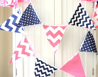 Banner, Bunting Pennant Fabric Flags, Navy Blue, Pink Polka Dot, Chevron Floral, Baby Nursery Decor, Wedding Garland, Girl Birthday Party