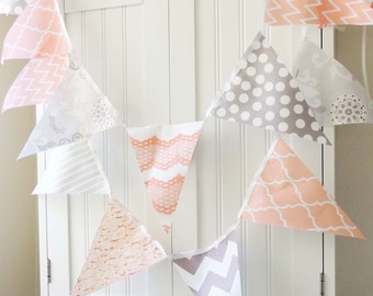 Banner, Bunting, Cotton Fabric Flags, Party Banner, Nectarine, Soft Peach, Grey and White, Wedding Decor, Photo Prop, Baby Nursery Decor