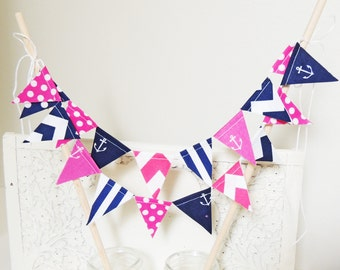 Nautical Cake Topper Banner, Party Mini Cake Bunting, Navy Blue, Hot Pink Anchors, Chevron, Polka Dots, Birthday Party, Wedding, Baby Shower
