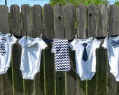 Baby Shower Decoration, Boy Kit, clothesline with Tie and Bow Tie Onesies, Burp Cloths, Bib, ribbon and clothespins included