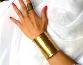 Wide hammered cuff, artisan made brass armband, unisex modern brass jewelry