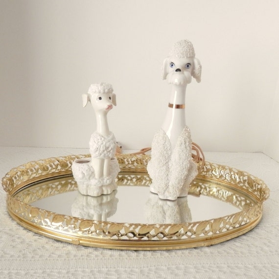 Vintage Poodle Lamp and Lipstick Holder- Vintage Dresser Accessories from the 1950's