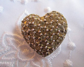 Vintage Silver Tone Small Heart Brooch Covered with Clear Rhinestones