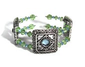 I Love The Vintage Style Cuff Swarovski crystal Link Bracelet