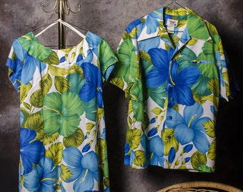 Hawaiian Wedding Set Dress and Shirt Luau
