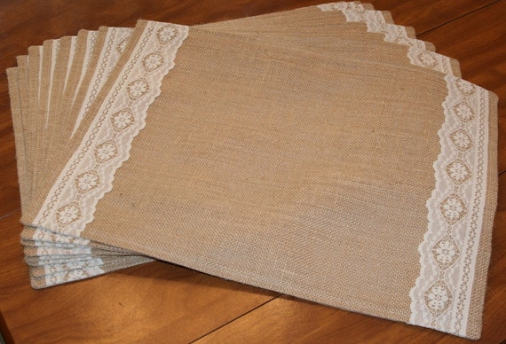 Burlap Flat Lace Rustic Country Placemats With Or Without