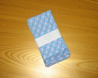 Blue and Pink Diamond Feedsack Cloth Napkins Set of 4