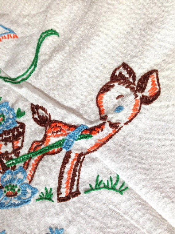 Vintage tablecloth embroidery deer bird animals linen