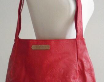 sasson red handbag  stick figures  animals synmbols s  1980s piece  large size boho tribal spiritual