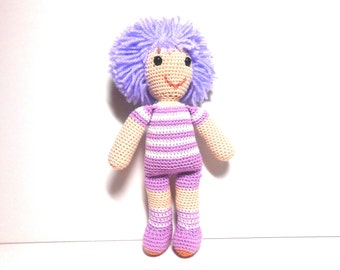 Crocheted Doll With Purple Hair, Amigurumi, 9 Inch Doll, Doll Collection, Amigurumi Doll