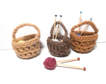 Miniature Knitting Baskets, Crocheted Baskets, Miniature Knitting