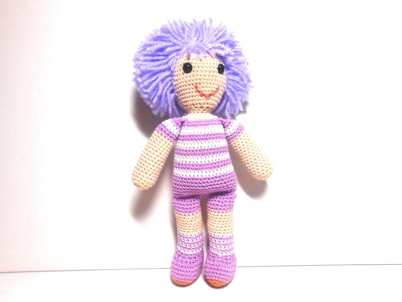 Crocheted Doll With Purple Hair Amigurumi 9 Inch Doll Doll