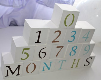 Baby Blocks- Photo Prop for Monthly Baby Pictures- Set of 16 Blocks- BROWN, TEAL, GREEN
