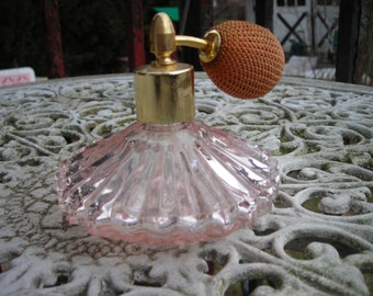 vintage perfume bottle irice pink glass