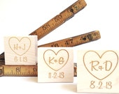 Custom Stamp. 2x2.  DIY Wedding Invite Stamp / Heart w/ Initials. Rustic Wedding Decor.