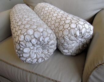 Raised Velvet in PEARL color--pair-- bolster pillows 7x22 each