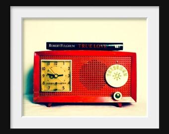 Fine Art Photography, Red Radio, Large Wall Art, Photo, Still Life, Decor 16x20 Fine Art Print, Vintage Decor, Love, Audiophile, Music Lover