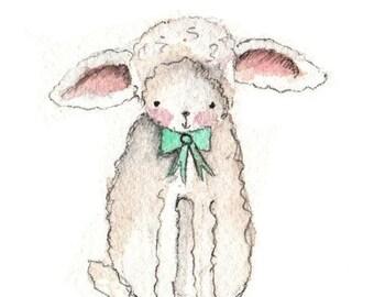 Nursery Decor The Little Lamb - Nursery Art Print - 8x10