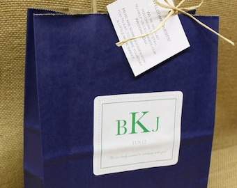 Wedding Welcome Bags Anthropology Woodland Classic Style Guest Bag Navy Blue and Green Wedding