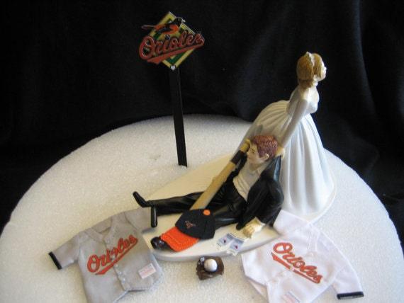 items similar to baltimore orioles baseball wedding cake topper groom cake on etsy. Black Bedroom Furniture Sets. Home Design Ideas