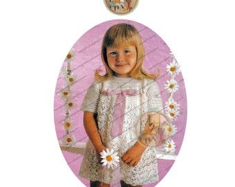 Vintage Crochet Dress Pattern for Girls - Easter Dress - PDF Email Delivery - PrettyPatternsPlease