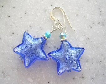 Large Venetian Glass Periwinkle Stars with Turquoise Accents