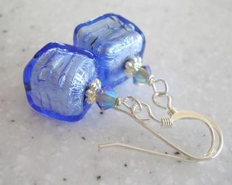 Light Sapphire Venetian Glass and Silver Earrings