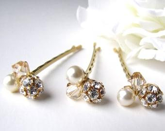 Bridal Hair Pins Cream Ivory Crystal Pearl Clusters, Set of 3