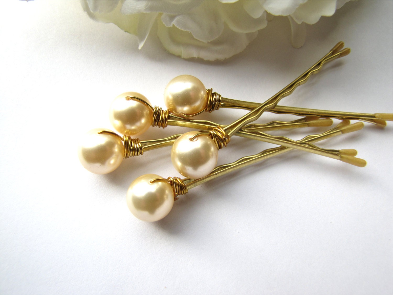 Light Gold Ivory Hair Pearl Pins Wedding Set