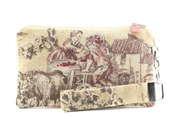 Yellow clutch handmade with shabby chic toile fabric - small purse for women - wristlet with zipper pouch & key fob