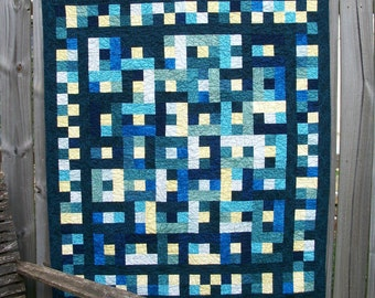 Blue Yellow Quilt Patchwork Handmade Quilted Indigo Teal Jinny Beyer Quiltsy Handmade FREE U.S. Shipping